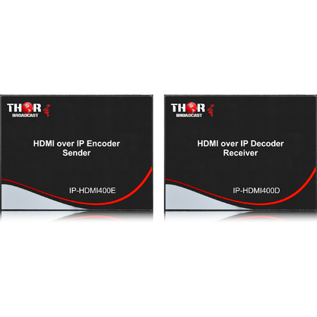 Thor Fiber H-HDMI-E/D 1080p HDMI Over IP Streaming Encoder/Decoder Kit - 120 Meters Over CATx