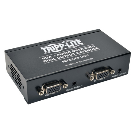 Tripp Lite B132-200A-SR Dual VGA with Audio over Cat5/Cat6 Extender Box-Style Receiver 1440x900 at 60Hz Up to 300 Feet
