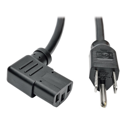 Tripp Lite P006-010-13RA Universal Computer Power Cord 10A 18 AWG (NEMA 5-15P to Right Angle IEC-320-C13) 10 Feet