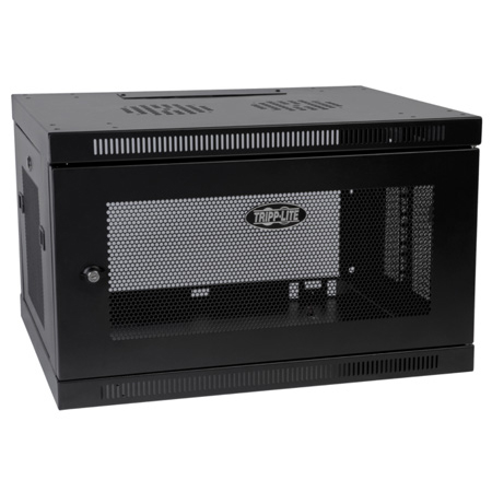Tripp Lite 6U Low-Profile Wall-Mount Rack Enclosure Cabinet Removable Side Panels 15H x 24W x 22D