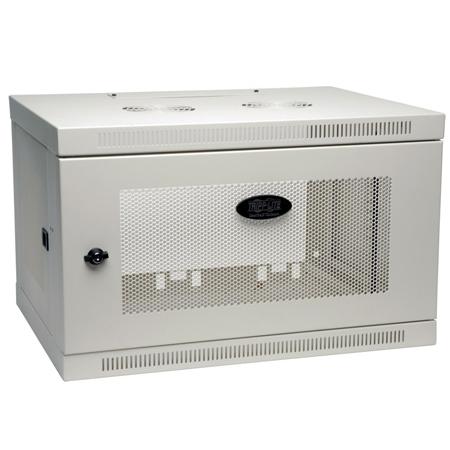 Tripp Lite 6U Low-Profile Wall-Mount Rack Enclosure Cabinet White Removable Side Panels 15H x 24W x 18D