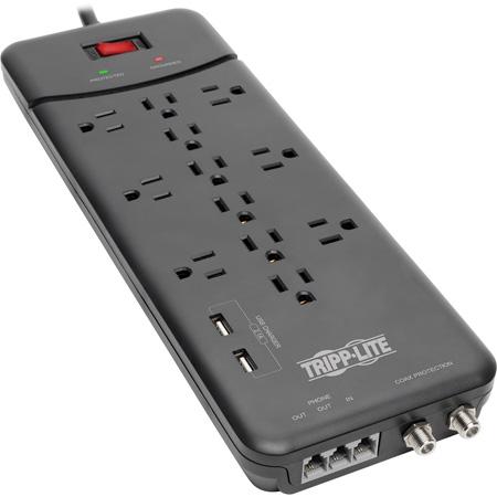 Tripp Lite TLP128TTUSBB Surge Protector Power Strip - 12 Outlet - 2 USB Ports - Tel/Modem/Coax