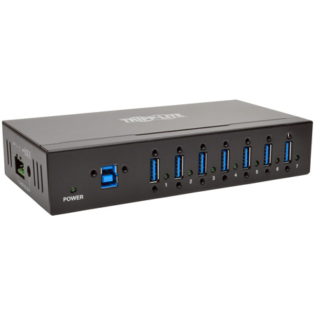 Tripp Lite U360-007-IND 7-Port Rugged Industrial USB 3.0 SuperSpeed Hub with 15KV ESD Immunity and Metal Case Mountable