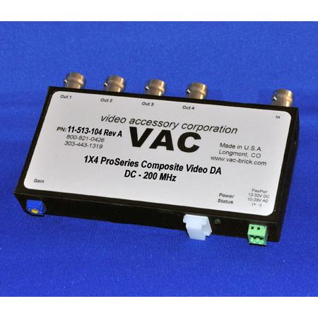 VAC 11-513-104 1x4 Composite Video DA - Standard Input - Global Variable Gain