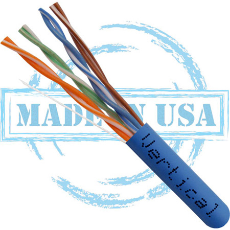 Vertical Cable 166-251/P/BL CAT6 Plenum Cable - 23AWG UTP 4 Pair Solid Bare Copper 550MHz Pull Box - Blue - 1000 Feet