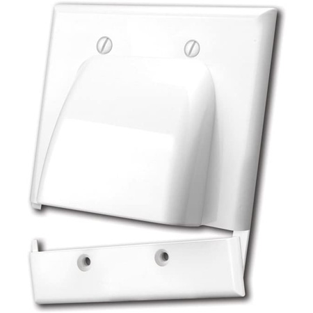 Vanco 120627X Hinged Bulk Cable Wall Plates - Dual and White