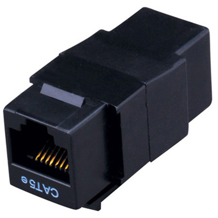 Vanco 820354 Cat5e RJ45 Feed-Thru Panel Mount - Black