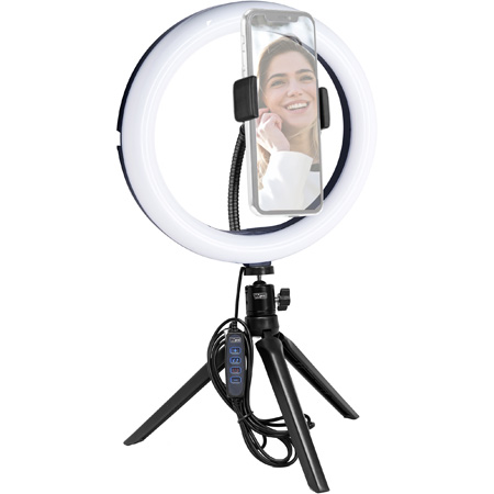 Vidpro Model RL-10 10-Inch Bi-Color LED Ring Light Kit with Table Top Tripod/Ball Head and Phone Holder