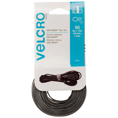 VELCRO® Brand 90924 ONE-WRAP® Thin Ties 8-Inch x 1/2-Inch Reusable Ties - 50 per roll