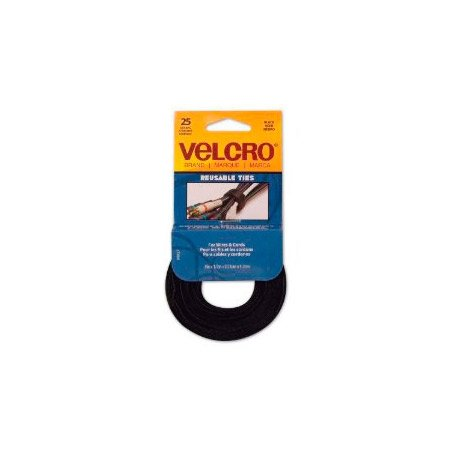 VELCRO® Brand 90927 ONE-WRAP® Thin Resuable Cable Ties - Black 8 Inch x 1/2 Inch - 25-Pack