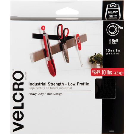 VELCRO® Brand 91100 Industrial Strength Low Profile Hook & Loop 1-Inch x 10 Foot Roll - Black