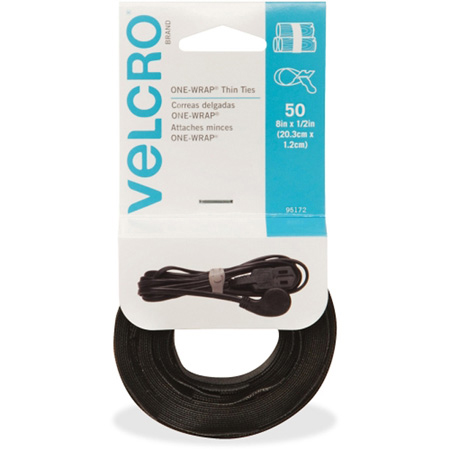 VELCRO® Brand 95172 One-Wrap® Thin Ties - Reusable Light Duty - 8 In x 1/2 In Thin Ties - 50 count - Black