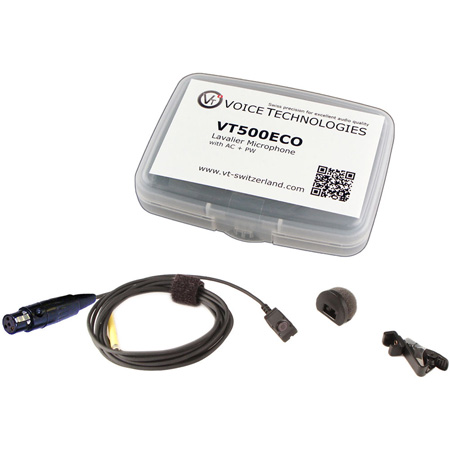 Voice Technologies VT500-ECO Mini Lav Mic Kit with TA4F for Shure - includes AC Clip/PW Windscreen & Travel Case - Black
