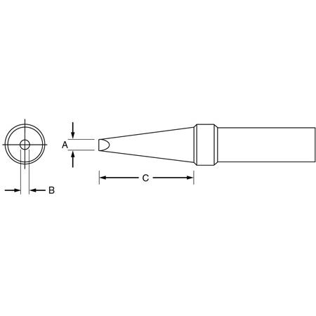Weller ETCC .125in x .032in x .625in ET Single Flat Tip for PES51 Pencil