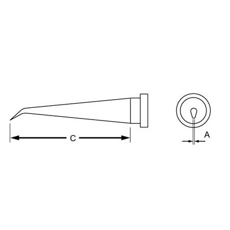Weller LT1SLX Long Bent Round LT Series Tip