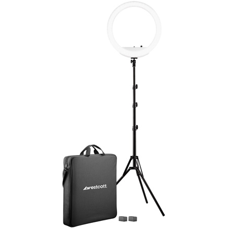 Westcott 4450 18-Inch Bi-Color LED Ring Light Kit with Batteries and Stand
