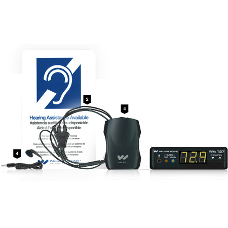 WILLIAMS AV PPA VP 37-00 Large Area Portable FM Assistive Listening System includes 1x Transmitter and 4x Receivers