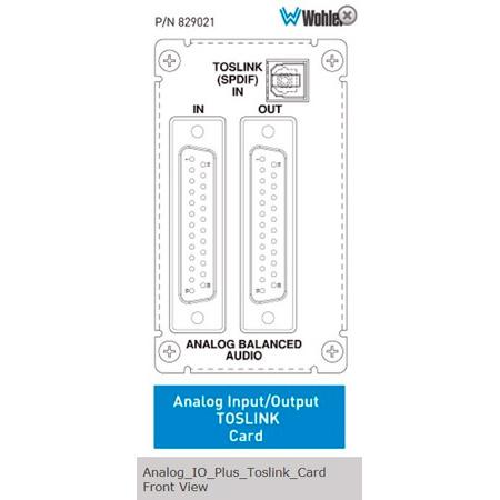 Wohler 829021 Analog I/O and Toslink Card for AMP2-16V-M
