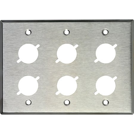 My Custom Shop WP3/6X 3-Gang Stainless Steel Wall Plate with 6 Neutrik D-Series Cutouts