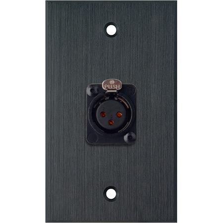 My Custom Shop WPBA-1115-TB 1-Gang Black Anodized Wall Plate w/ Neutrik NC3FD-S-1-B 3-Pin XLR-F (screw terminal)