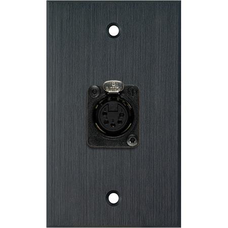 My Custom Shop WPBA-1178 1-Gang Black Anodized Wall Plate w/ One 5-Pin XLR DMX Connector