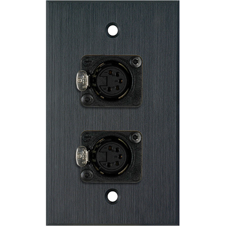 MCS WPBA-1179 1-Gang Black Anodized Wall Plate w/ Two 5-Pin XLR DMX Connectors