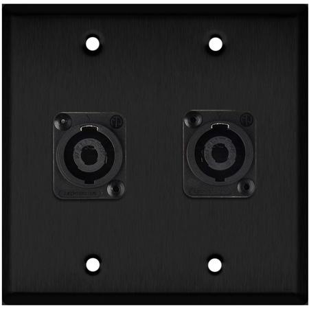 My Custom Shop WPBA-2118 2-Gang Black Anodized Wall Plate w/ 2 Neutrik NL4MP -D-Series 4 Pole speakON