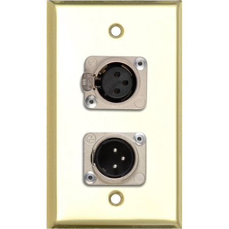 My Custom Shop WPBR-1113-COMBO 1-Gang Brass Wall Plate w/ Neutrik Single 3-Pin XLR Male & Single XLR Female