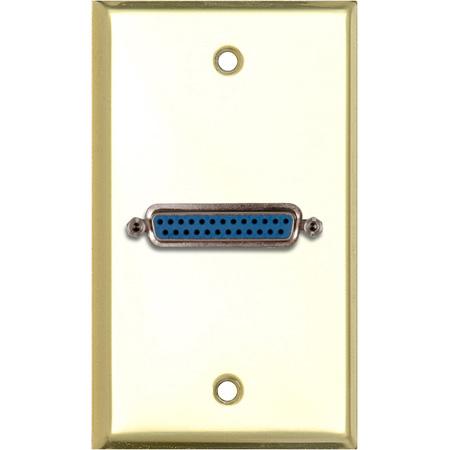 My Custom Shop WPBR-1150 1-Gang Brass Wall Plate w/ 1 25-Pin D-Sub Female Barrel