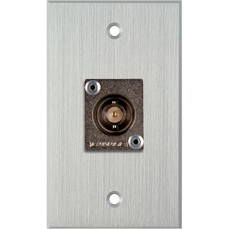 My Custom Shop WPCA-1103 1-Gang Clear Anodized Wall Plate w/ 1 Canare BCJ-JRU BNC Feed-Thru
