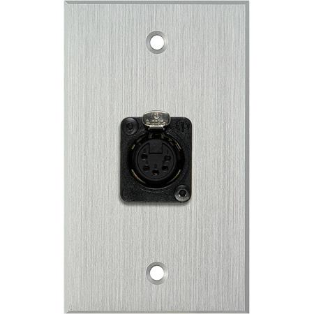 My Custom Shop WPCA-1178 1-Gang Clear Anodized Wall Plate w/ One 5-Pin XLR DMX Connector