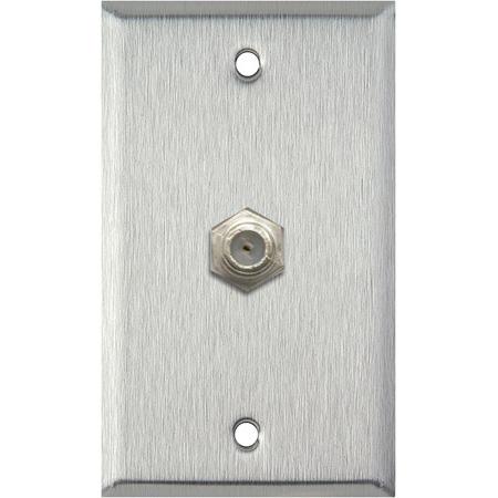 My Custom Shop WPL-1107 1-Gang Stainless Steel Wall Plate w/ 1-F-Connector F-F Feedthru