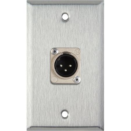 My Custom Shop WPL-1113 1-Gang Stainless Steel Wall Plate w/ 1 Neutrik 3-Pin XLR Male