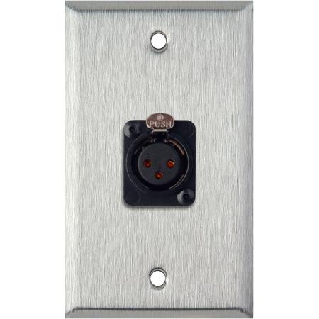 My Custom Shop WPL-1115-TB 1-Gang Stainless Steel Wall Plate w/ Neutrik 3-Pin XLR-F-Terminal Block