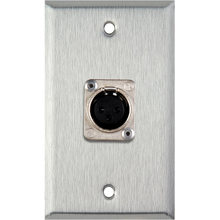 My Custom Shop WPL-1117 1-Gang Stainless Steel Wall Plate w/ Latchless 3-Pin Female XLR