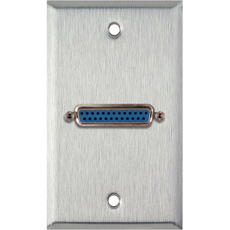MCS WPL-1148 1-Gang Stainless Steel Wall Plate w/ One 25-Pin D-Sub Female to Rear Solder Points