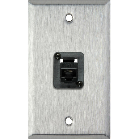 My Custom Shop WPL-1194-6E 1-Gang Stainless Steel Wall Plate w/ 1 CAT6 RJ45 F-F Panel Mount Connector