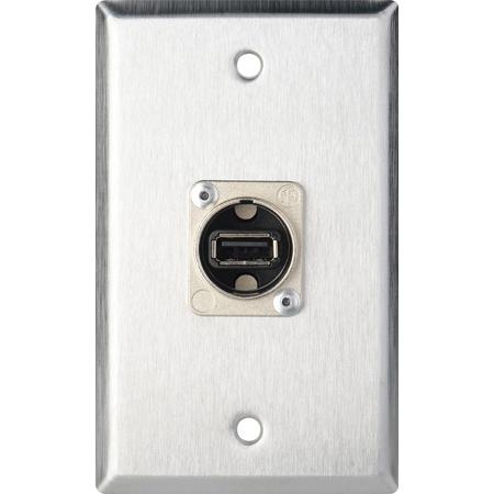 My Custom Shop WPL-1212 1-Gang Stainless Steel Wall Plate w/ 1 Neutrik USB A to B Barrel