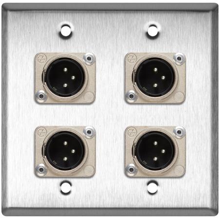 My Custom Shop WPL-2109 2-Gang Stainless Steel Wall Plate w/ 4 Neutrik XLR 3-Pin Male Connectors