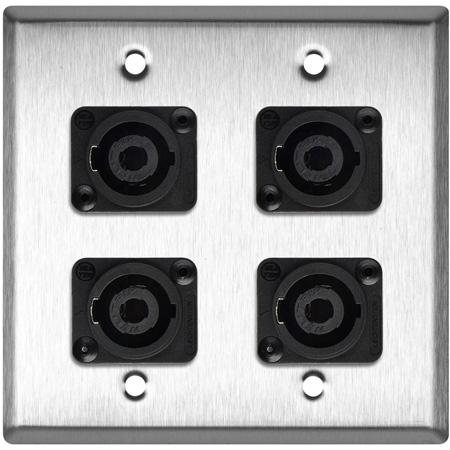My Custom Shop WPL-2119 2-Gang Stainless Steel Wall Plate w/ 4 Neutrik NL4MP 4-Pole speakONs