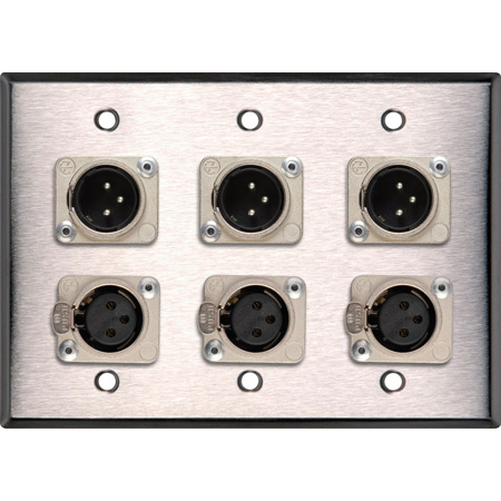 My Custom Shop WPL-3103-COMBO 3-Gang Stainless Steel Wall Plate w/ Neutrik Triple 3-Pin XLR-M & Triple XLR-F