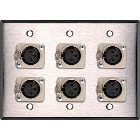 My Custom Shop WPL-3104 3-Gang Stainless Steel Wall Plate w/ 6 Latching Neutrik 3-Pin XLR-Fs