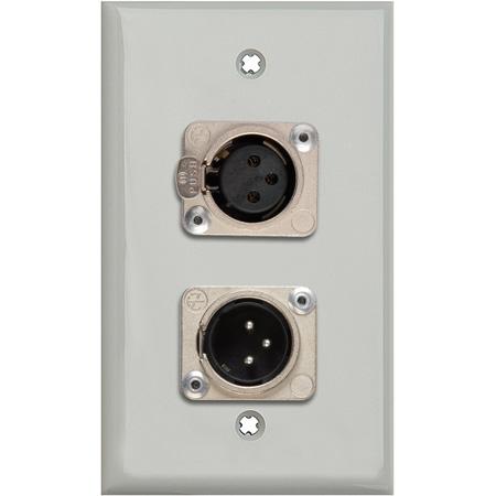 My Custom Shop WPLG-1113-COMBO 1-Gang Gray Lexan Wall Plate w/ Neutrik Single 3-Pin XLR-M & Single XLR-F
