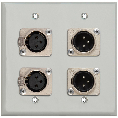 MCS WPLG-2109-COMBO 2-Gang Gray Lexan Wall Plate w/ Neutrik Dual 3-Pin XLR Male & Dual XLR Female