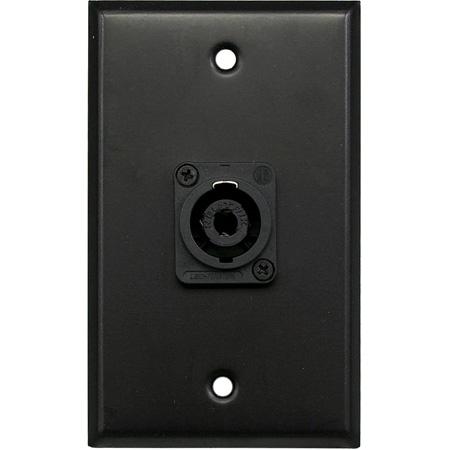 Whirlwind WP1B/1NL4 1-gang Wall Plate - 1 Neutrik NL4 Speakon - Black