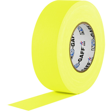 Pro Tapes 001UPCG250MFLYEL Pro Gaff Gaffers Tape YGT-50 2 Inch x 50 Yards - Fluorescent Yellow