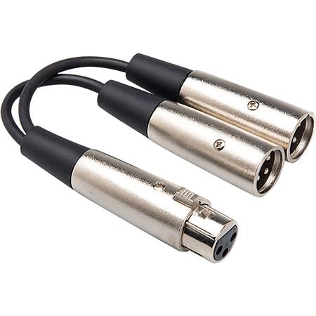 Hosa YXM-121 One XLR Female to Two XLR Males Y Cable 6 Inch