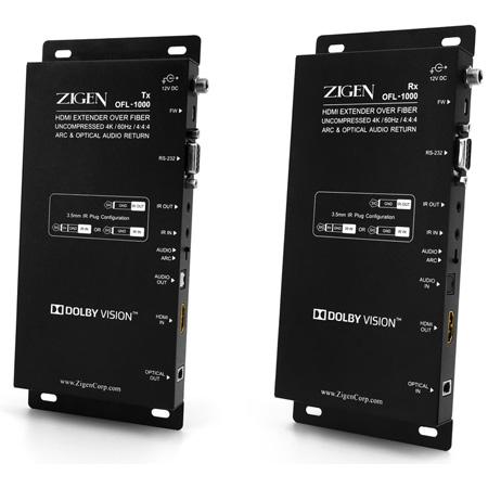 Zigen OFL-1000 4K60Hz 18G Uncompressed Fiber Extender Set - Bi-Directional IR RS232 supports HDR-10/ARC/Dolby Vision