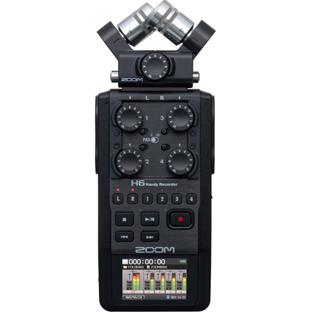 ZOOM H6 AB 6-Track Handy Digital Audio Recorder with Interchangeable Mic Capsules - All Black