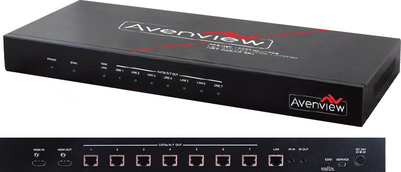 Avenview HBT-C6POE-SP8 1x8 HDBaseT HDMI POE CAT5/6/7 Splitter 4K2K 3D IR  Support